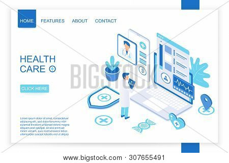 Isometric Design Of Website Homepage For Healthcare Organization. Health Care Isometry Vector Illust