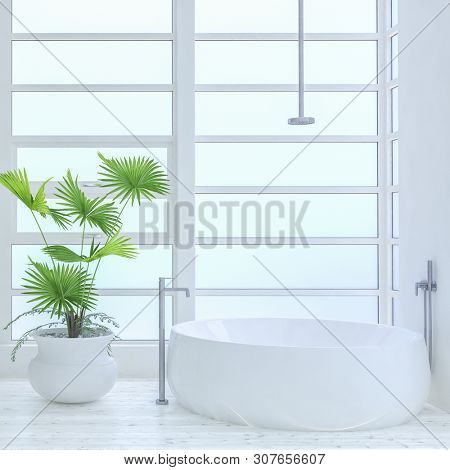 Modern luxury bright white bathroom interior with oval bath and large potted green plant in front of large windows. 3d render