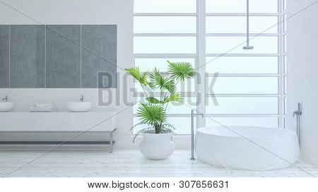 Stark monochromatic white modern luxury bathroom interior with double vanity, boat shaped tub and houseplant lit by large windows. 3d render