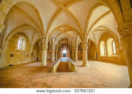 Alcobaca, Portugal - August 15, 2017: The Dormitory, A Big Gothic Room Where The Monks Slept Togethe