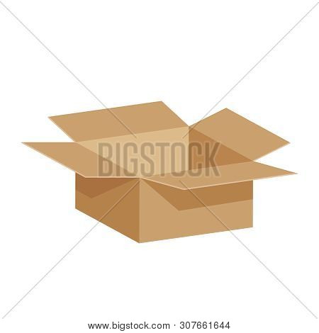 Open Crate Boxes 3d, Cardboard Box Brown, Flat Style Cardboard Parcel Boxes, Packaging Cargo Open, I