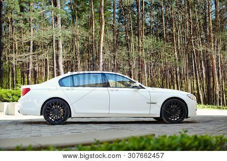 Grodno, Belarus, May 16, 2013: Modern Luxury Bmw 750li Xdrive Car Three-quarter Side View Parked On