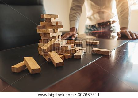 Problem Solving Business Can't Stop Effect Of Dominoes Continuous Toppled With Business Team Feeling