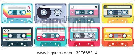 Retro Music Cassette. Stereo Dj Tape, Vintage 90s Cassettes Tapes And Audio Tape. Antique Radio Play