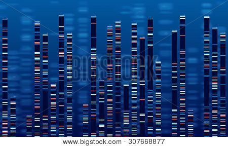 Dna Data Chart. Medicine Test Graphic, Abstract Genome Sequences Graph And Genomics Map. Medicine Ge