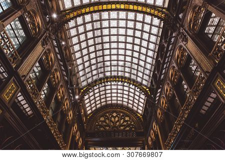 Budapest, Hungary - June 18, 2019: Interior Of Parisi Udvar Hotel In V District In Budapest, Hungary