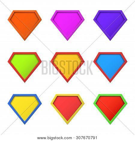 Set Of Colorful, Different Superhero Logo Concept. Blank Super Hero Badge Icon. Shield Symbol. Templ