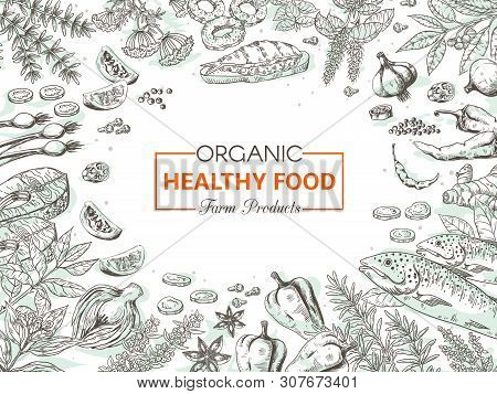 Hand Drawn Organic Food. Healthy Vegetables And Spices Background, Gourmet Fish Menu Vintage Sketch.