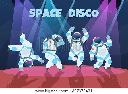 Party Astronauts. Retro Dancing Spaceman, Disco Entertainment Poster With Pop Art Cosmonaut. Vector