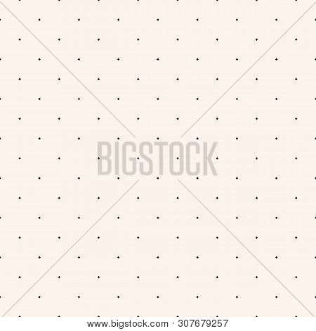 Subtle Vector Seamless Pattern With Tiny Diamond Shapes, Small Stars, Rhombuses, Dots. Simple Black