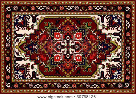 Persian Carpet, Tribal Vector Texture. Easy To Edit And Change A Few Colors By Swatch Window.persian