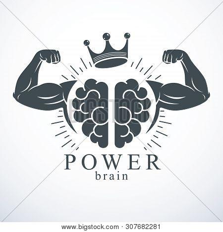 Brain With Strong Bicep Hands Of Bodybuilder. Power Brain Emblem, Genius Concept.  Brain Training, G