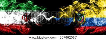 Iran Vs Ecuador, Ecuadorian Smoky Mystic States Flags Placed Side By Side. Thick Colored Silky Smoke