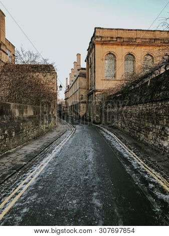 Oxford, United Kingdom - 07 07 2019: Streets of Oxford during warm spring days. poster