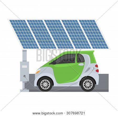Fuel Alternative Vehicle Vector Team-car Or Gas-truck And Solar-van Or Gasoline Electricity Solar St