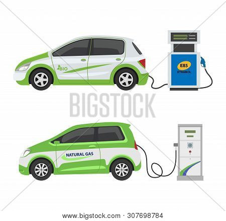 Fuel Alternative Vehicle Vector Team-car Or Gas-truck And Solar-van Or Gasoline Electricity Station
