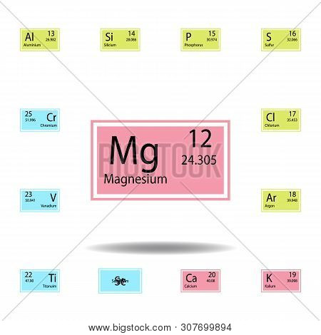 Periodic Table Element Magnesium Color Icon. Set Of Chemical Sign Color Icon. Signs And Symbols Coll