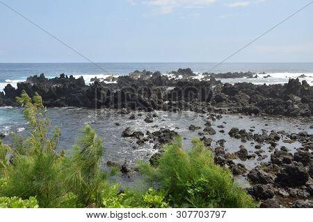 Big Island, Hawaii Rugged Coastline Made Of Volcanic Rock