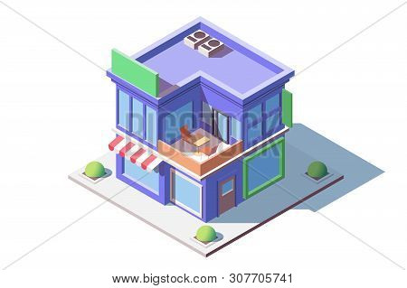 Family Store Building Vector Illustration. Cute Shop Serving Customers Foodstuffs And Other Goods. M