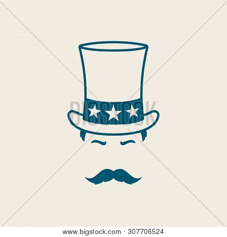 Man In Uncle Sam Hat. Illustration For Independence Day America. Uncle Sam Avatar.