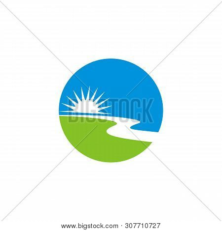 Sun And Creek Logo Template Illustration Design. Vector Eps 10.