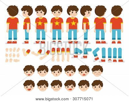 Mascot Creation Kit Of Little Boy For Different Poses . Vector Constructor With Various Views, Emoti