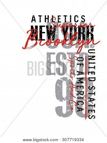 Design Vector Typography Varsity New York Brooklyn For T Shirt Print Men