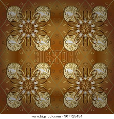 Vector. Vintage. Stylish Fabric Pattern. Seamless Doodles Brown And Beige On Colors.