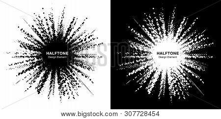 Halftone Star Frame Set. Grunge Spot Border Using Halftone Circle Dots Raster Texture. Sale Design E