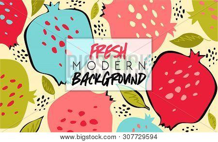 Summer. Fresh Modern Background. Fruit Fashion Poster Or Banner. Summer Vector Illustration Easy Edi