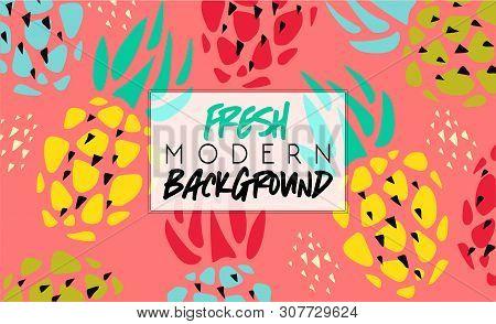 Summer. Fresh Modern Background. Fruit Fashion Poster Or Banner. Summer Vector Pineapple Illustratio