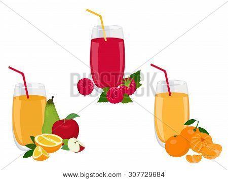 Berry And Fruit Smoothie, Healthy Juicy Vitamin Drink Diet Or Vegan Food Concept, Fresh Vitamins. Ve