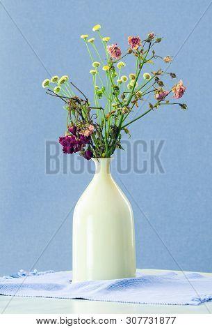 Vase Of Dry Flowers Background. White Vase With Dry Flowers On Blue Background. Background Image Of