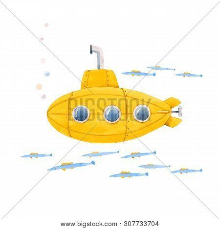 Beautiful Vector Illustration With Watercolor Sea Life Underwater Submarine