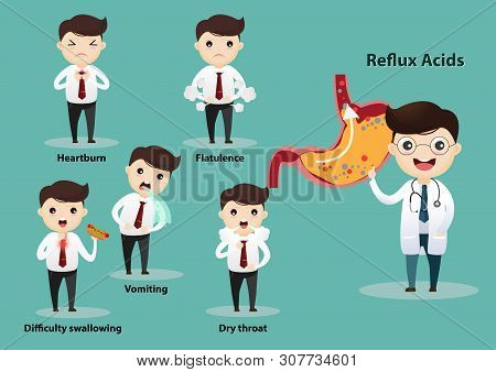 Businessman Suffering From Stomach Painful Or Acid Reflux Or Heartburn, Gas, Bloating, Belching And