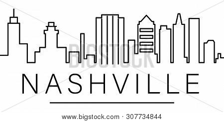 Nashville City Outline Icon. Elements Of Cityscapes Illustration Line Icon. Signs, Symbols Can Be Us