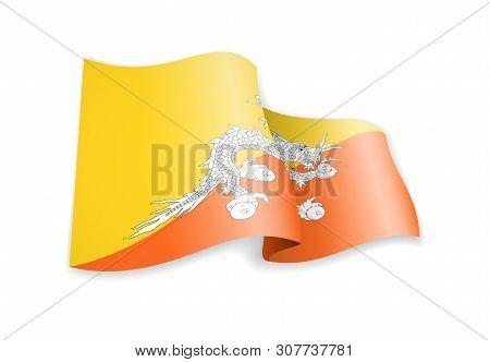Bhutan Flag In The Wind. Flag On White Vector Illustration