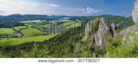 Sulov Rocks, Slovak Republic. Hiking Theme. Panoramic Photo. Seasonal Natural Scene.
