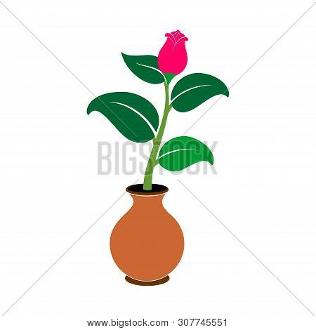Vase With Flowers Icon. Vector Illustration Of A Flower In A Vase. Hand Drawn And A Vase Of Flowers.