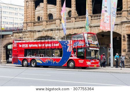Sydney, Australia - June 15th 2015: Official Sight Seeing Tour Bus Of Sydney And Bondi With Passenge