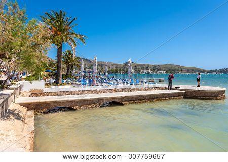 Mallorca, Spain - May 6, 2019: Seaside Resort Port De Pollenca (puerto Pollensa), A Popular Family R