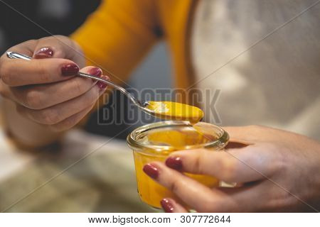 Woman's Hands Grabbing Rich Plate Of Spanish Salmorejo, With Olive Oil.