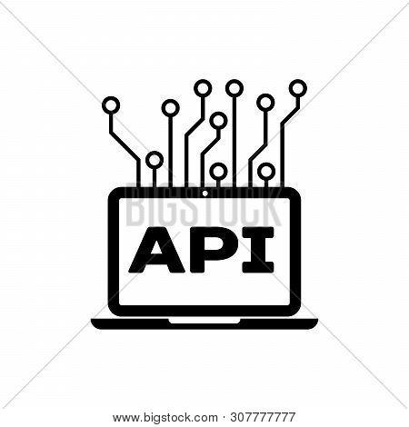 Black Computer Api Interface Icon Isolated. Application Programming Interface Api Technology. Softwa