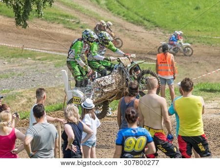 Brezova Nad Svitavou, Czech Republic - June 15, 2019: Sidecars Are Jumping In Front Of Standing Spec