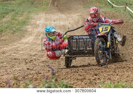 Brezova Nad Svitavou, Czech Republic - June 15, 2019: Sidecars Of Japokra Racing Team In The Turn In