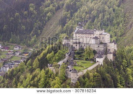Hohenwerfen Castle Or Festung Hohenwerfen  Medieval Castle Overlooking The Austrian Werfen Town In S