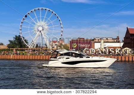 Gdansk, Poland - June 22, 2019: Ferris Wheel Located In The Old Town Of Gdansk