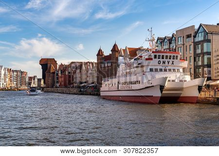Gdansk, Poland - June 22, 2019: Summer Scenery Of Motlawa River And Old Town Of Gdansk, Poland, Euro