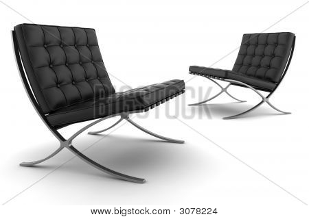 Two Black Armchairs Isolated