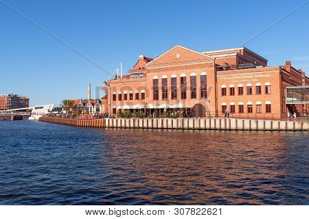 Gdansk, Poland - June 22, 2019: Historic Philharmonic Of Gdansk On The Island Of Ołowianka. Old Town